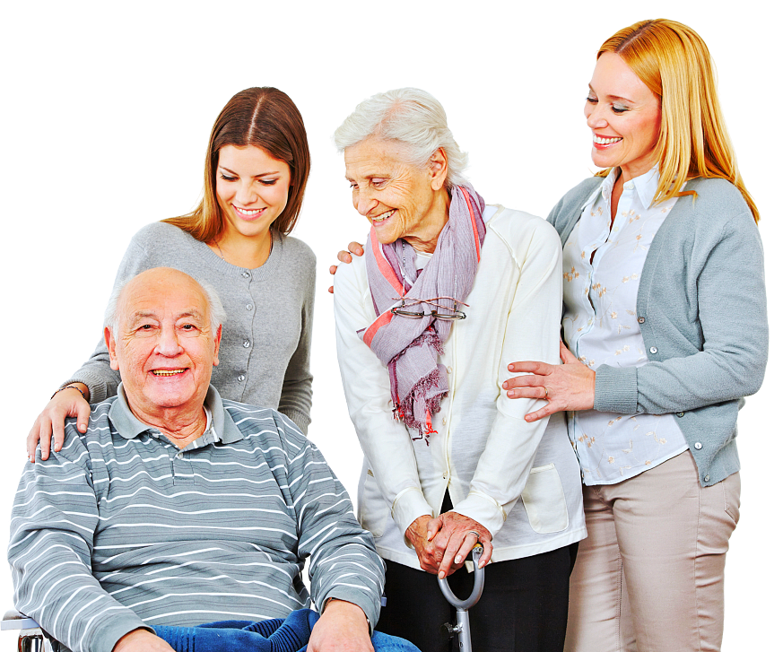 old couple with the caregivers